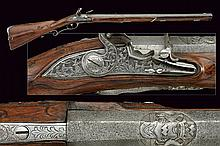 An important flintlock rifle of nobile property by C. Hofman, dating: second quarter of the 18th Century, provenance: Berlin, dating: second quarter of the 18th Century, provenance: Berlin, Beautiful, rifle, octagonal, 14 mm cal. barrel, the first