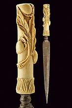 A composite hunting dagger, dating: 19th Century, provenance: Italy, dating: 19th Century, provenance: Italy, Straight, double-edged blade with strengthened tip, engraved at the tang; bone grip, carved with high-relieved floral motifs. , length 37.2
