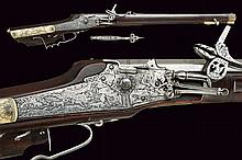 A very scarce wheel lock rifle for a boy or a woman with its spanner, dating: circa 1700, provenance: Germany, dating: circa 1700, provenance: Germany, Octagonal, rifled, 12 mm cal. barrel, engraved with bands at the base, provided with adjustable