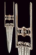 A katar, dating: circa 1900, provenance: India, dating: circa 1900, provenance: India, Strong, triangular, double-edged blade with strengthened tip and ribbed at the center, with four grooves and floral engravings; decorated with in-the-round arches