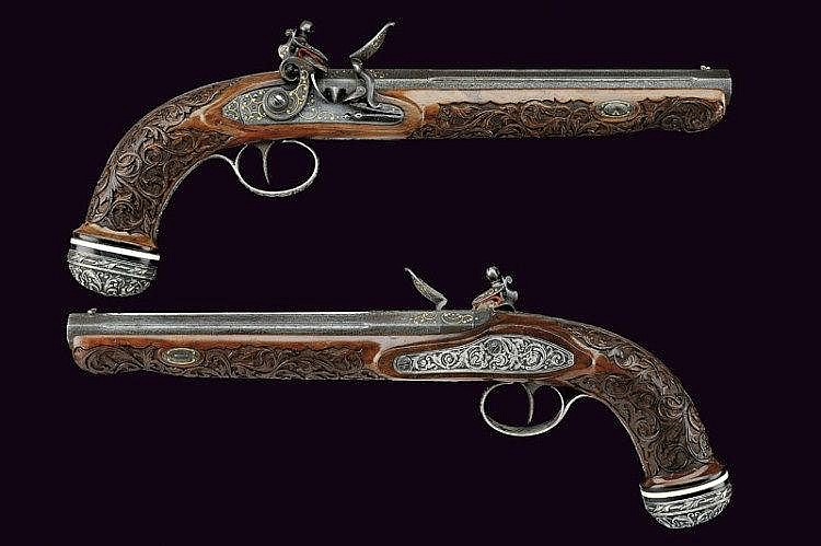 An outstanging pair of flintlock pistols commissioned for the 1st Ambassador of Russia in Belgium