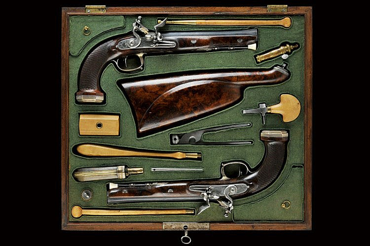 An important pair of cased pistols by Bertheas Fils