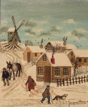 HARA Jacques (né en 1933) Paysage au moulin Huile sur toile signée en bas à