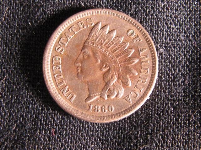 1860 Indian Head Cent - AU Details
