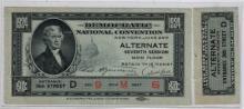 1924 Democratic Nat'l Convention Ticket & Stub