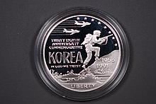 1991 Korea War Memorial Proof Silver Dollar