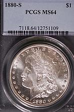 1880-S Morgan Silver Dollar - PCGS MS64