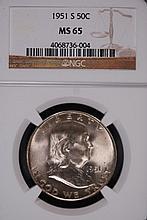 1951-S Franklin Half Dollar - NGC MS65