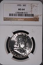 1955 Franklin Half Dollar - NGC MS64