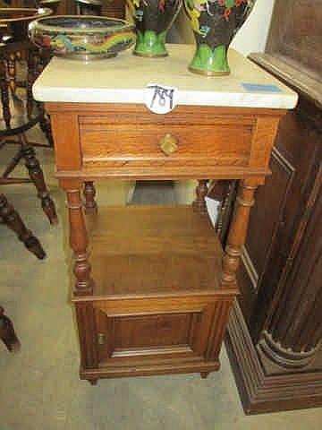 19thc Oak Marbletop Pedestal