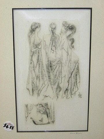 Ernest Ullman Etching (1900-1975) Three Ladies,