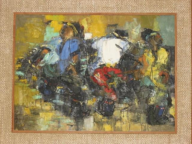 Ephraim Ngatane Oil Painting (1938-1971) Gum Boot