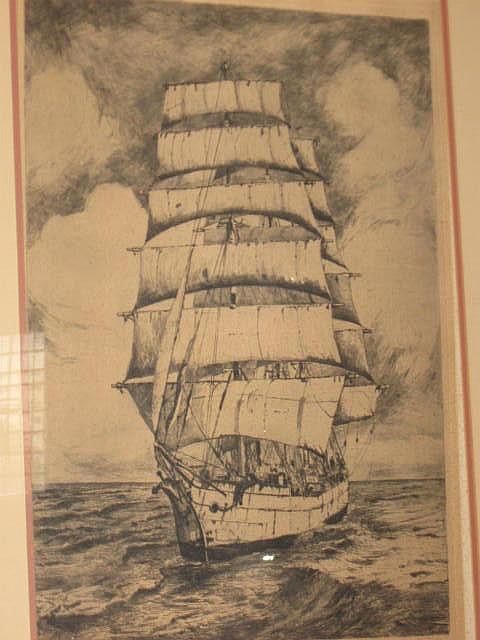 Jan Sirks Original Etching (1885-1938) : A Barque