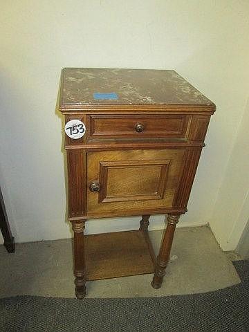 19thc Mahogany Marble Top Pedestal