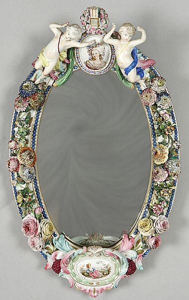 Fine and rare Jacob Petit porcelain mirror, having