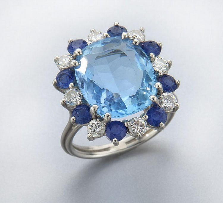 Platinum, diamond, sapphire and aquamarine ring
