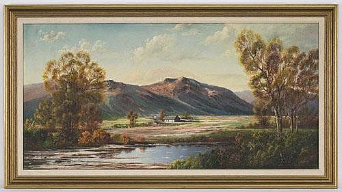 J W Thrasher oil painting on canvas, depicting a