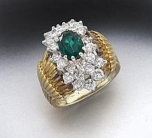 14K gold, diamond and emerald ring