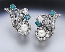 Art Deco platinum, emerald and diamond earrings