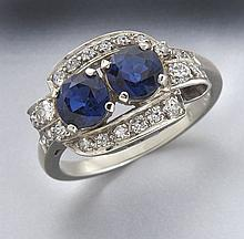 Retro 14K gold, diamond and sapphire ring