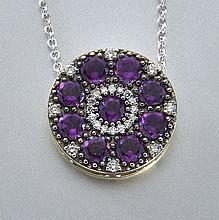 18K gold, amethyst and diamond pendant,