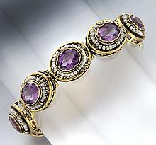 Victorian 14K, amethyst and seed pearl bracelet