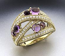 Judith Ripka 18K, amethyst and diamond ring