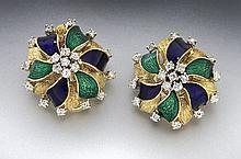 Italian 18K gold, enamel and diamond earrings