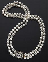 14K gold, diamond, sapphire and cultured pearl