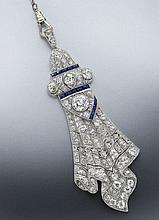 Art Deco platinum and diamond drapery fold pendant