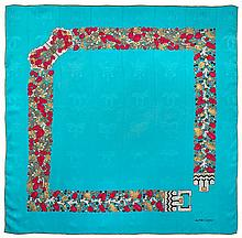 Chanel blue silk scarf.