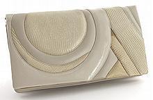 Judith Leiber white lizard skin clutch