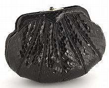 Judith Leiber black snake skin clutch