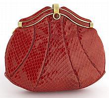Judith Leiber red snake skin clutch