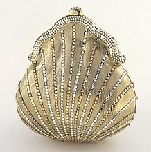 Judith Leiber gold tone metal and crystal