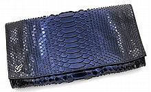 Gucci 25 cm blue python clutch.