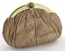 Judith Leiber caramel snake skin clutch