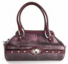 Judith Leiber purple snake skin satchel