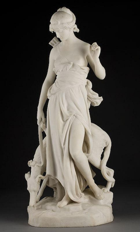Eugene-Antoine Aizelin marble sculpture of Diana.