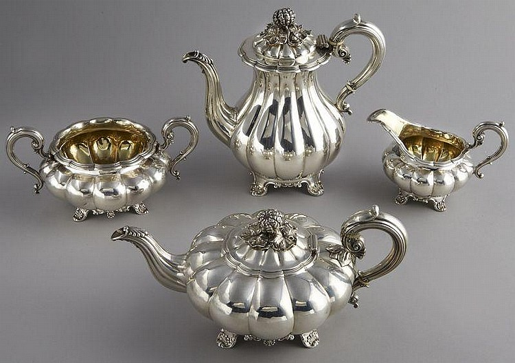 4Pc. English George IV sterling silver coffee