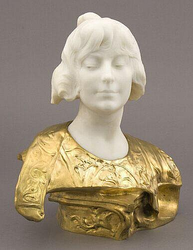 Berthoud marble and gilt bronze bust, likely a