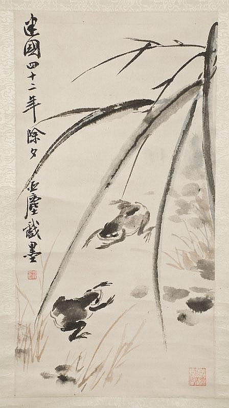 Chinese watercolor scroll by Wang Ya Chen painted
