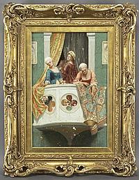 """John Burgess, """"On the Balcony"""" oil on canvas,"""