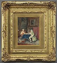 "Bernard Borione, ""A Game of Chess"" watercolor"