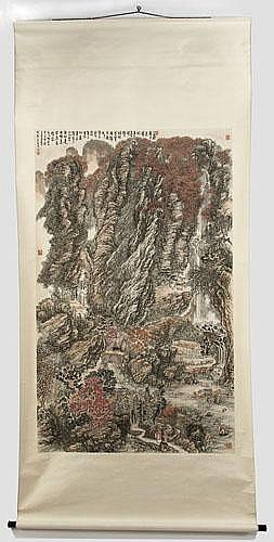 Chinese watercolor landscape painted scroll signed