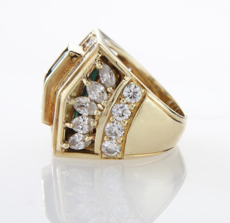 18k gold emerald and ring