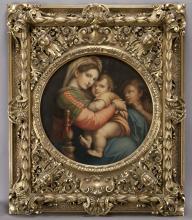 """Auguste Estienne """"Madonna Della Sedia"""" oil on"""