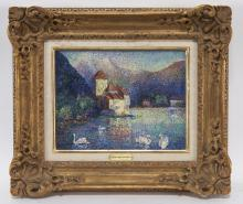 """Lucien Neuquelman """"Le lac aux cygnes"""" oil on"""