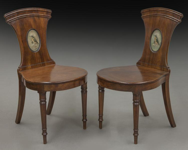 Pr English Victorian Mahogany Hall Chairs