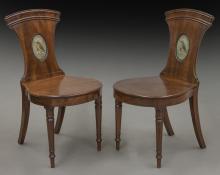 Pr. English Victorian mahogany hall chairs,